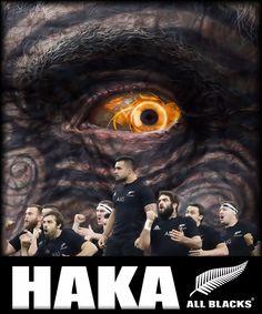 "All Blacks rugby ""HAKA"" poster created by Gordon Tunstall using Adobe Photoshop & Corel Paintshop Pro - 2015"