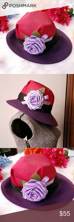 Vintage ribbon rose hat Lancaster red purple Gorgeous vintage purple and red hat! - wool felt with the top covered in red satin, black band, finished off with a huge lavender ribbon rose -hat is by Lancaster and is signed inside - it is in very nice condition with some minor signs of wear, and a few knicks to the wool- from a smoke free home :)  8588hat888 Vintage Accessories Hats