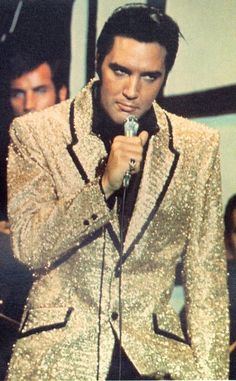 """Gold Jacket (1968) Elvis wore this Gold Jacket during the """"Little Egypt"""" segment of his 1968 TV special.  Brent's Gold Jacket was custom made by """"The Right Stitch"""" in New Mexico."""