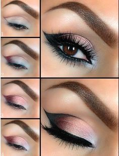 Levels pastel color eye shadow with black eyeliner and mascara