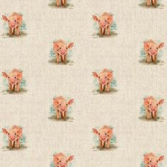 Piglet All Over Linen Style Canvas Fabric Printed Linen, Printed Cotton, Cushions To Make, Pattern Weights, Pig Farming, Door Stopper, Table Runners, Cushion Covers, Upholstery