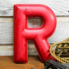 Vintage Fiberglass Red Letter R