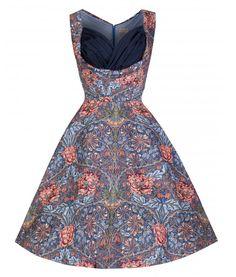 Lindy Bop 50's Ophelia Floral Vintage Style Dress Blue Coral