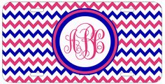 Personalized Monogrammed Chevron Pink Blue License Plate Custom Car Tag L022