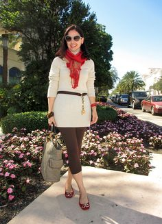 Susana Fernandez | A Key to the ArmoireNovember 14, 2012  http://www.akeytothearmoire.com/post/35701952691/passport-to-fall  #sweater dress #cream #red #ombre #scarf #ombre scarf #brown #leggings #Rugby #Ralph Lauren Rugby #Prada #Prada sunglasses #Ralph Lauren Collection #Ferrari #Longines #Juicy Couture #Coral Gables #Miracle Mile #cora #capri leggings #plaid