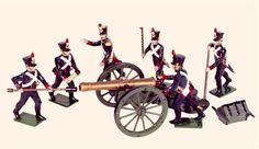 N4A Toy Soldiers Set French Foot Artillery 1812 Painted