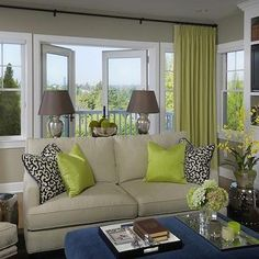 Chartreuse Curtains, Traditional, living room, Graciela Rutkowski Interiors