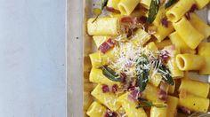Ricetta di pasta per l'autunno e l'inverno: i rigatoni (o altra pasta) vengono conditi con una carbonara di zucca, pancetta, salvia, pecorino e brodo.