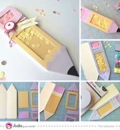 Regalos para profesores: Shaker card en forma de lápiz explicada paso a paso. Manualidades para niños. Scrapbooking. Papercraft. Scrap. DIY. Handmade.