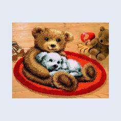New Latch Hook Rug Kits DIY Needlework Unfinished Crocheting Rug Yarn Cushion Mat Embroidery Carpet Rug Ted and Dog Home Decor Dog Home Decor, Latch Hook Rug Kits, Cross Stitch Thread, Tapestry Kits, Rug Yarn, Bear Cartoon, Rug Hooking, Embroidery Kits, Hobbies And Crafts