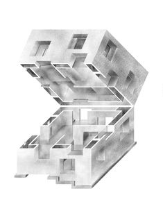Haris Karajic, Casa Poli axonometric oblique projection drawing