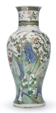 A Famille-Verte 'Wild Flowers and Insects' Baluster Vase, Qing Dynasty, Kangxi Period