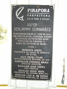 Placa no interior do Vapor Benjamim Guimarães