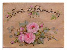 """Enseigne peinte """" au jardin du luxembourg-Paris"""" , roses anciennes. by Hélène Flont"""
