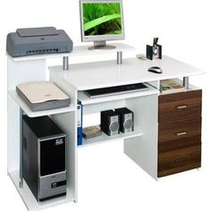 Home Office Furniture: Choosing The Right Computer Desk Computer Desk Design, Pc Desk, Computer Desks, Home Desk, Home Office Furniture, Bureau Multimedia, Room Interior, Interior Design Living Room, Small Home Offices