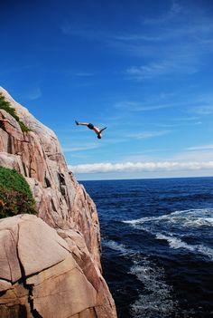 Cliff Diving in Ingonish, Nova Scotia, Canada