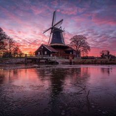 Photograph - Beautiful Dutch Windmill In Holland During Sunset by Martin Podt , Holland Windmills, Nature Photography, Travel Photography, Different Aesthetics, Pink Clouds, City Architecture, Le Moulin, Pet Portraits, Portrait Photographers