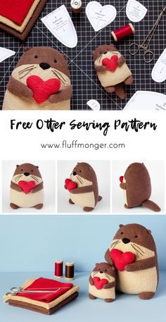 Free Otter Sewing Patterns from Fluffmonger - DIY Plush Otters, DIY Gifts, Favors . - Free Otter Sewing Patterns from Fluffmonger – DIY Plush Otters, DIY Gifts, Stuffed Otters Tu - Easy Sewing Projects, Sewing Projects For Beginners, Sewing Hacks, Sewing Tutorials, Sewing Crafts, Diy Gifts Sewing, Sewing Art, Sewing Ideas, Sock Crafts