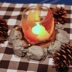 Crib this adorable faux-campfire centerpiece idea from CopyCrafts.