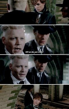 Fantastic Beasts and Where to Find Them - As Grindelwald reaches Newt, he pauses, both smiling and sneering. He is led away, up and out of the subway. Newt watches, bemused.