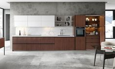 Horno Neff en cocina con muebles de madera y en color blanco de Mobalco. Diseño y funcionalidad en la cocina, ¡como nos gusta!