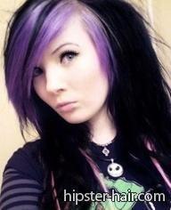 Jet black scene hair with purple highlights Purple Brown Hair, Purple Hair Highlights, Purple Streaks, Hair Streaks, Peekaboo Highlights, Burgundy Hair, Purple Lilac, Light Purple, Zooey Deschanel