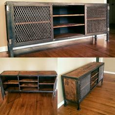 Custom Industrial Entertainment Center: have your custom designed furniture created today! Contact wolfcreekironandglass@gmail.com