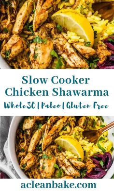 Slow cooker chicken shawarma (aka shwarma) combines the ease of a slow cooker meal with the complex flavor of a slow-roasted middle eastern chicken feast! Various serving options make this sensational Gluten Free Recipes For Dinner, Whole 30 Recipes, Whole 30 Crockpot Recipes, Whole30 Dinner Recipes, Healthy Slow Cooker, Crockpot Recipes Gluten Free, Pizza Recipes, Paleo Chicken Recipes, Paleo Food