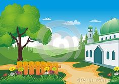 Illustration about Beautiful natural scenery with Mosque - cartoon design, beautiful view, pretty and funny. Illustration of beautiful, forest, field - 77203267 Islamic Cartoon, Natural Scenery, Cartoon Design, Mosque, Paintings, Illustration, Funny, Pretty, Nature