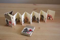 These dutch houses never get boring. Spring in the city - hand stamped concertina book