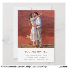 Wedding Save The Dates, Save The Date Cards, Custom Invitations, Wedding Invitations, Burnt Orange Weddings, Modern Minimalist Wedding, Dream Wedding, Wedding Suite, Colored Envelopes