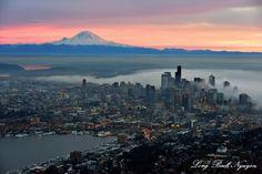 Red Sky over Mount Rainier, Foggy Downtown Seattle, Space Needle, Lake Union, Washington