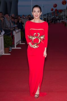 Zhang Ziyi wears ELIE SAAB Resort 2014 to The 28th Cabourg Film Festival in France.