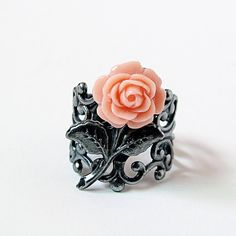 Coral Peach Rose Ring Antiqued Silver Adjustable by jFrancesDesign.