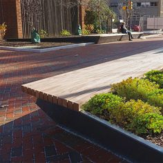 Streetlife - Green areas with Steel Protection and Sturdy FSC Hardwood Seats Hardscape Design, Raised Planter, Hardwood, Planters, Sidewalk, Deck, Architecture, Benches, Outdoor Decor