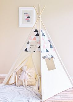 *This listing is for accent fabric in Triangles with shades of Pink, Peach, Grey, Black and White. The top four sides of the tent, the ties and the