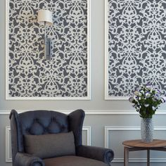 Wall Stencil Giannini Damask Allover Pattern for Wall Decor DIY Wallpaper Look