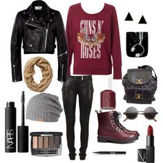 """guns and roses!!!"" by mariaantoniou on Polyvore"