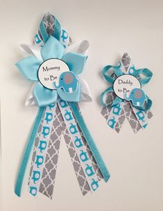 Elephant Mommy to Be Blue Baby Shower pin corsage by DiAtn on Etsy