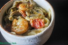 Make with your hands: Basil Garlic Fettuccine with Shrimp