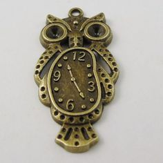 Yellow owl clock 1849 time please on folksy pinterest 20pcs vintage bronze tone alloy cute owl clock pendant charms pendant 37203mm mozeypictures Images