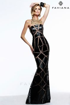 Faviana Dress Black and Copper