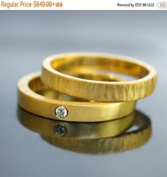 Sale Unique wedding ring set His and hers wedding rings 14k