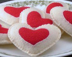 Felt Food Cookies HeartShaped JamFilled WOOL by ThePixiePalace, $26.00
