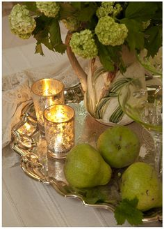 a silver tray, mercury glass votive candles and hydrangeas...lovely