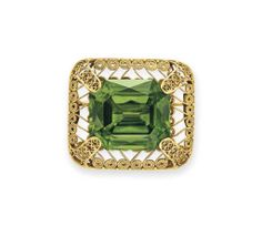 An antique peridot and gold brooch, by Louis Comfort Tiffany, Tiffany & Co. Photo Christie's Image Ltd 2014 Designed as an openwork. Antique Brooches, Gold Brooches, Antique Jewelry, Vintage Jewellery, Tiffany Art, Tiffany Jewelry, Jewelry Crafts, Jewelry Art, Fine Jewelry