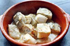 Tacos de bacalao en salsa de coco-soja