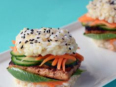 """Brown rice """"buns,"""" marinated tofu, and gochujang mayo make these little sushi sliders the cutest thing brown rice has ever served. Any marinade on the tofu will work, or just use simple soy sauce. View Recipe: Brown Rice Sushi Slider with Teriyaki Tofu"""