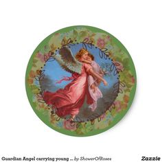 Guardian Angel carrying young child Classic Round Sticker