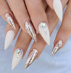 Pointy Nail Designs Ideas 38 classy acrylic stiletto nails designs for summer 2019 Pointy Nail Designs. Here is Pointy Nail Designs Ideas for you. Pointy Nail Designs 38 classy acrylic stiletto nails designs for summer Pointy N. White Stiletto Nails, Glitter Gel Nails, Almond Acrylic Nails, Acrylic Nail Art, Acrylic Nail Designs, Nail Art Designs, Nails Design, Silver Glitter, Gradient Nails